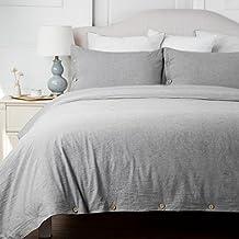 Bedsure Cotton Duvet Cover Sets Queen Full Size Grey Bedding Set 3 Pieces Duvet Cover 2 Pillow Shams