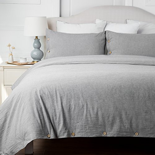 Bedsure Cotton Duvet Cover Sets Queen Full Size Grey Bedding Set 3 Pieces Duvet Cover 2 Pillow Shams