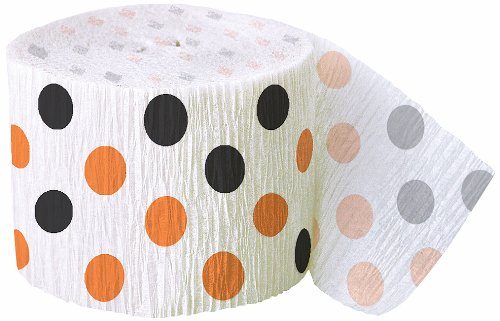 30ft Orange & Black Polka Dot Halloween Crepe Paper Streamers (Crepe Paper Streamers Orange compare prices)