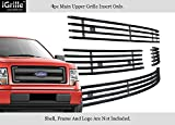 Fits 2013-2014 Ford F-150 Main Upper Stainless Steel Black Billet Grille Insert #N19-J42956F