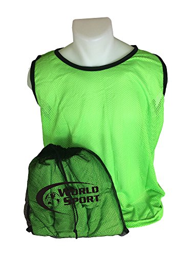 World Sport 12 Pack Adult Green Scrimmage Vests with Carry Bag