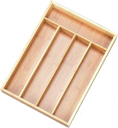 Caja de bambú de Almacenamiento por Separado Caja de Almacenamiento en la Bandeja de la Caja cajón de la Cocina de la Sala de Almacenamiento de vajilla Hermoso y práctico: Amazon.es: Hogar