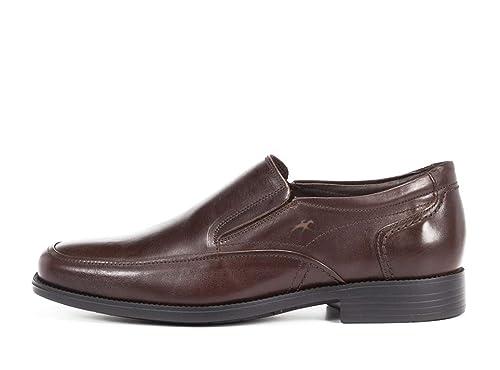 Zapatos Vestir Hombre FLUCHOS - Piel Marrón Tipo mocasín, con elásticos, Piso Poliuretano Antideslizante