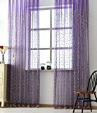 ASide BSide Cherry Trees Embroidered Rod Pocket Top Sheer Curtains Gorgeous Style Permeable Window Decoration For Sitting Room Kitchenand Child Room (1 Panel, W 52 x L 63 inch, Purple)