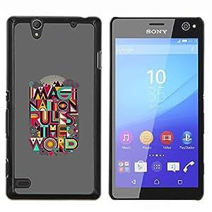 YiPhone /// Prima de resorte delgada de la cubierta del caso de Shell Armor - Cita Mundial Regla Imaginación Creatividad Arte - Sony Xperia C4