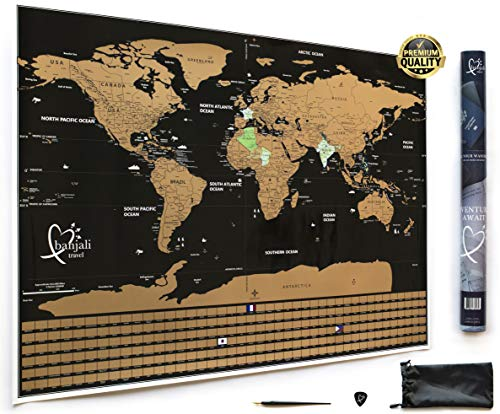 Scratch Off Travel World Map by Banjali Travel with Country Flags - Frameable Poster - Includes a Guitar Pick, Pen Scratcher and Tube - 33 x 24 inches