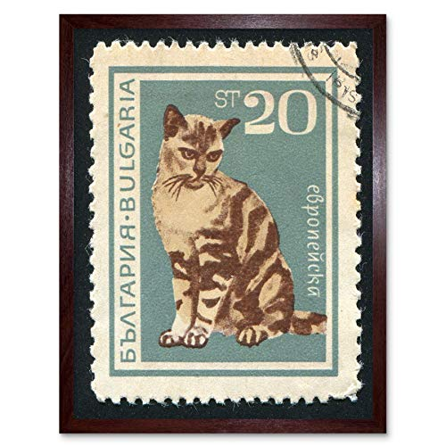 (Wee Blue Coo Postage Stamp Bulgaria 20 Stotinka Domestic Cat Postmarked Art Print Framed Poster Wall Decor 12x16 inch )