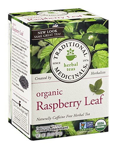 Traditional Medicinals Organic Raspberry Leaf Herbal Tea Caffeine Free 16 Bags Pack of 3 ()