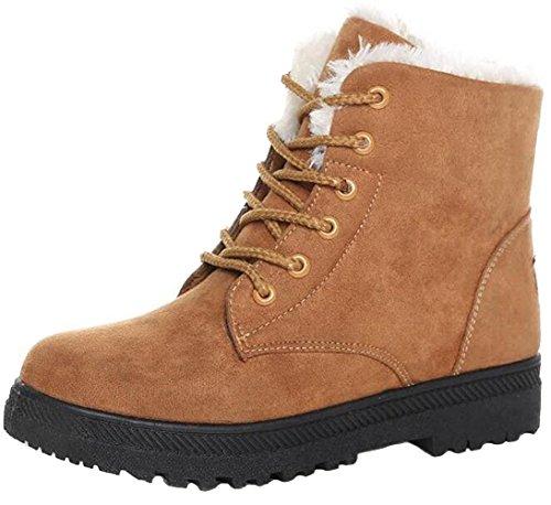 DADAWEN Damen Schneestiefel Mädchen Boots Warm Gefüttert Winterschuhe Wasserdicht Schnürstiefel Wildleder Boots Khaki