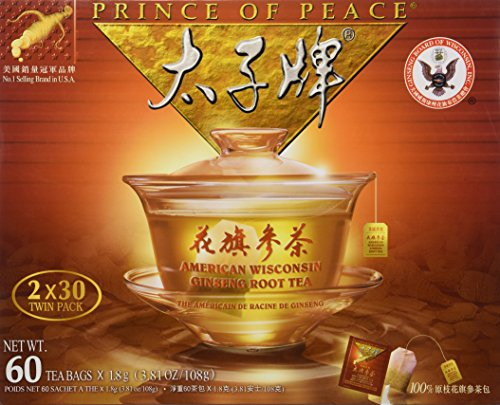 Wisconsin Ginseng Tea (Prince of Peace American Wisconsin Ginseng Root Tea (2 boxes x 30 teabags each))