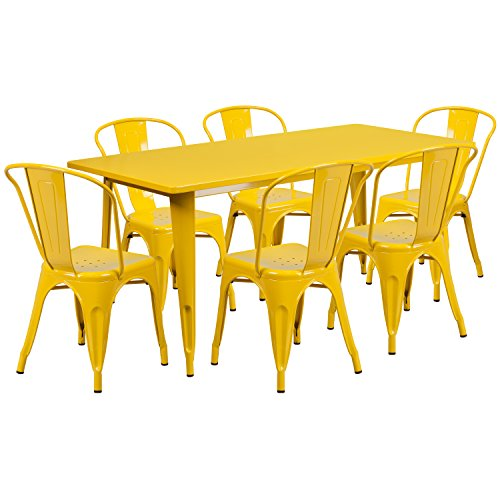Flash Furniture 31.5'' x 63'' Rectangular Yellow Metal Indoor-Outdoor Table Set with 6 Stack Chairs -