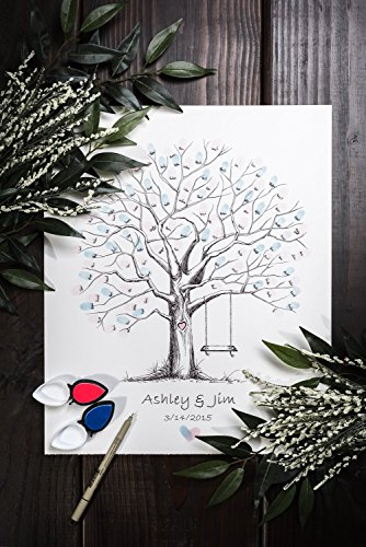 Fingerprint Tree custom wedding guestbook - Original thumbprint guest book alternative (Medium Size Ink) includes 2 ink pads!! by LunsfordPencilArt