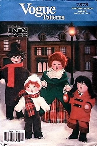 OOP Vogue Crafts Pattern 7878. 4 Christmas Caroler Dolls + Clothes. Heights Range From 8