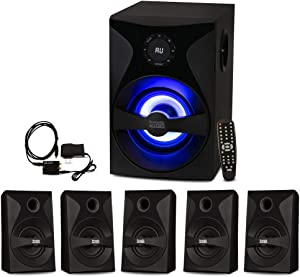 Acoustic Audio Bluetooth 5.1 Speaker System with Sub Light FM and Optical Input Home Theater 6 Speaker Set
