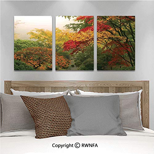 Canvas Wall Art 3pcs Oil Painted Maple Trees in The Fall at Portland Japanese Garden One Foggy Morning Scenery Art Paintings for Home Decor 13.8x19.7inch,Red Yellow Green