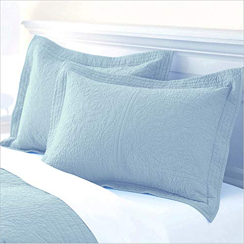 ADASMILE A & S Paisley Cotton Quilted Pillow Sham Floral Printed Pillow Cover Standard Size Pillow Cases Set of 2 Decorative Pillow Covers,Light Blue (Quilted Shams)