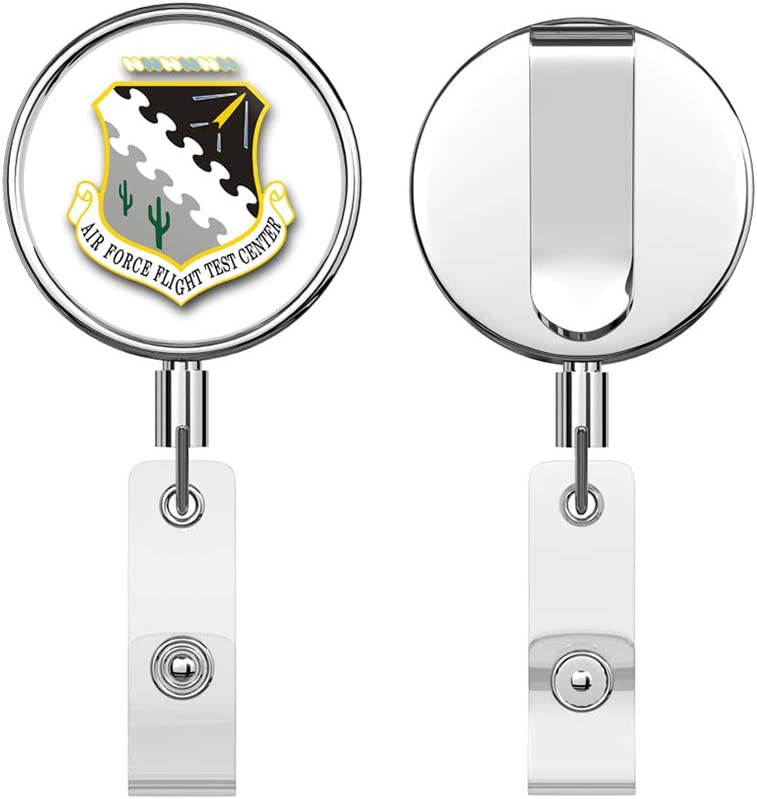 US Air Force Armed Forces Expeditionary Medal Operation Earnest Will Military Veteran USA Pride Served Round ID Badge Key Card Tag Holder Badge Retractable Reel Badge Holder with Belt Clip