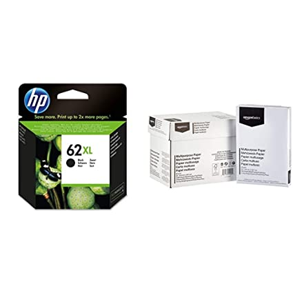 HP AC2P05AE - Cartucho de Tinta & AmazonBasics Papel Multiusos para Impresora A4 80gsm, 5x500 Hojas, Blanco
