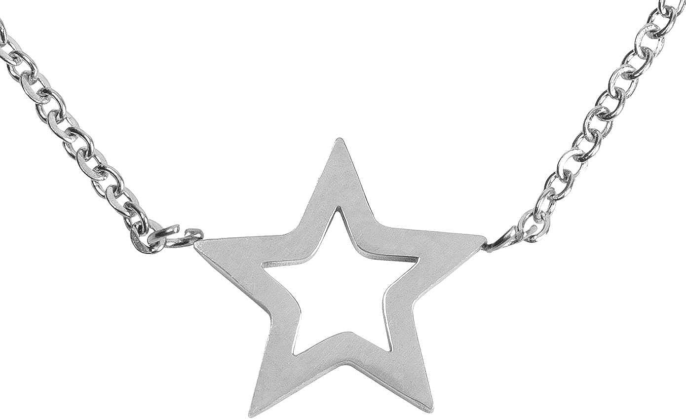 styleBREAKER Collar de Acero Fino con Colgante de Estrella, Cadena de Ancla, Cierre de mosquetón, Cadena, bisutería, señora 05030040