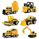 Construction Vehicles,2.7 Inch Mini Engineering Vehicles Set(6 Piece),Original Color Push and Go Mini Model Toy Forklift,Bulldozers,Asphalt Car,Tank Truck,Excavator,Dumper Playset for Kids