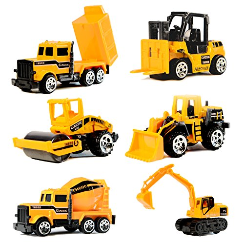 Construction Vehicles,6 Pack Assorted Engineering Vehicles Set,Original Color Mini Model Construction Cars Toy Forklift,Bulldozers,Asphalt Car,Tank Truck,Excavator,Dumper for Kids Boys Girls Toddlers
