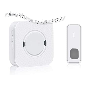 Wireless Doorbell Waterproof Door Bell Kit with 1 Remote Button  Transmitter(Battery included)and 1 Plugin Receivers Operating at 1000-feet  Range 5