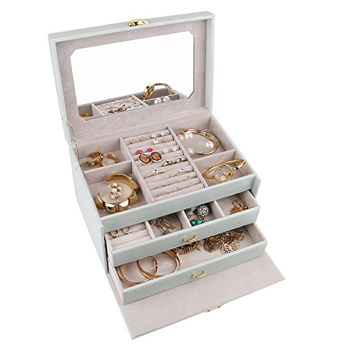 A Comely Medium Jewelry Box Accessories Jewelry Storage Organizer Case, Faux Leather, Lockable, Classic Design with Mirror, Tiffany Blue (Tiffany Und Co Tiffany)