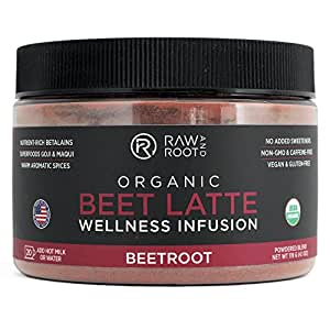 BEET LATTE - USDA Certified Organic Beet Latte Mix - 20 servings (4.1 oz) - by RAW AND ROOT - With Superfoods Goji & Maqui Berries - Organic, Non GMO, Vegan, Gluten-free, No added sweeteners