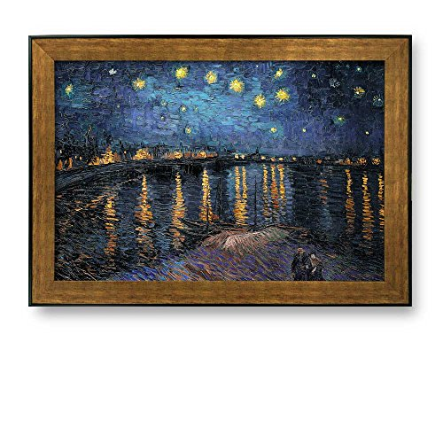 Art Framed Rhone (wall26 Framed Art Prints - Starry Night Over The Rhone by Vincent Van Gogh - Famous Painting Reproduction. Ready to Hang -16