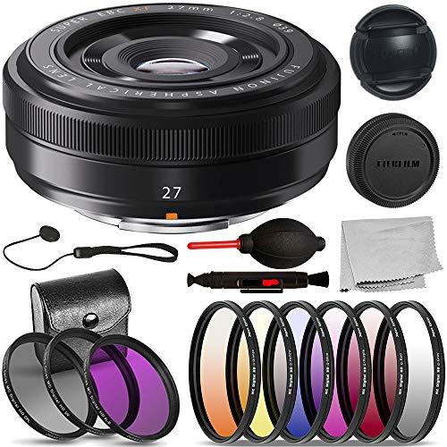 - FujiFilm XF 27mm F/2.8 Lens (16389123 USA Black) Basic Bundle: Includes - 3pcs Filter Kit (UV, CPL, HD FL-D), 6pcs Graduated Filter Kit, and More