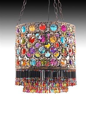 Lampara De Techo India Piedras Colores 30 cm: Amazon.es: Hogar