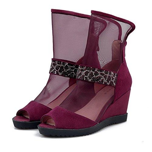 Amoonyfashion Delle Donne Peep Toe Tacchi Tacco Alto In Materiale Assortito Con Cerniera Colore Sandali Claret