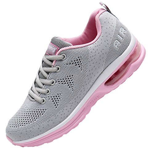 (MEHOTO Womens Fashion Lightweight Tennis Walking Shoes Sport Air Fitness Gym Jogging Running Sneakers GrayPink 7.5 B(M) US)