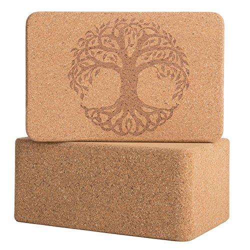 Peace Yoga Set of 2 Cork WoodYoga Blocks with Premium Designs – Tree