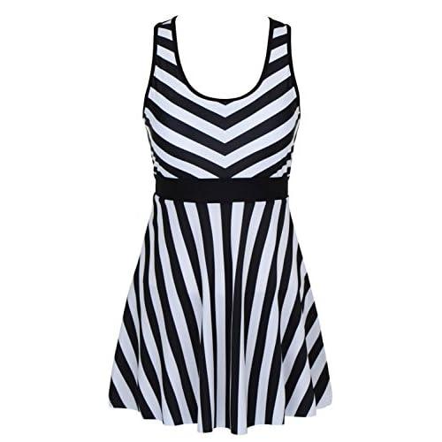 3bbfcdadcb842 well-wreapped DANIFY Women s One Piece Swimdress Sailor Striped Bathing  Suit Plus Size Swimwear