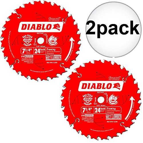 (Diablo D0724A 2-Pk 7-1/4 x 24T Carbide Framing Saw Blade 2-Pack)