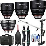 Rokinon Xeen 14mm T/3.1, 24mm, 50mm, 85mm T/1.5 Pro Cine Lens Bundle (for Video DSLR Cinema Canon EF Cameras) with Waterproof Hard Case + Camera Slider + Stabilizer Kit
