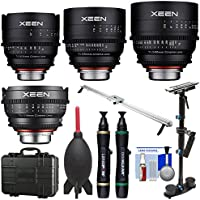 Rokinon Xeen 14mm T/3.1, 24mm, 50mm, 85mm T/1.5 Pro Cine Lens Bundle (for Video DSLR Cinema Canon EF Cameras) with Waterproof Hard Case + Camera Slider + Stabilizer Kit
