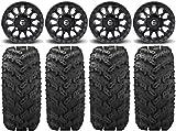 Bundle - 9 Items: Fuel Vector MB 14'' Wheels 28'' Reptile Tires [4x137 Bolt Pattern 10mmx1.25 Lug Kit]