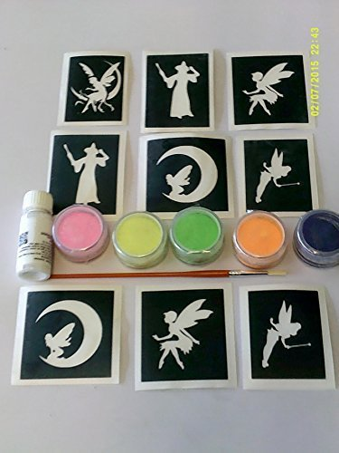 Tinkerbell Glitter Tattoo Kit (Fairy Glitter tattoo set incl 30 x stencils + 5 glitter colors + glue fairies Tinkerbell Christmas present)