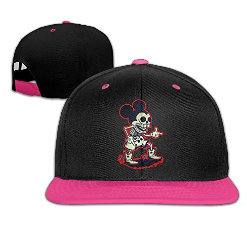 - NUBIA Mouse Skull Outdoor Trucker Hat Snapback Flat Bill Cap Pink