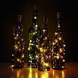 JOJOO Set of 6 Warm White Wine Bottle Cork Lights - 32inch/ 80cm 15 LED...