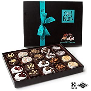Oh! Nuts Chocolate Covered Cookie Gift Baskets, 20 Variety Gourmet Assortment Set Holiday Food Sandwich Cookies, Prime Christmas Elegant Box Gifts, Thanksgiving Valentines Fathers & Mothers Day