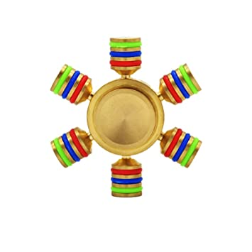 Metal Fid Spinner WOQU Rainbow Finger EDC Toys with 6 Winged