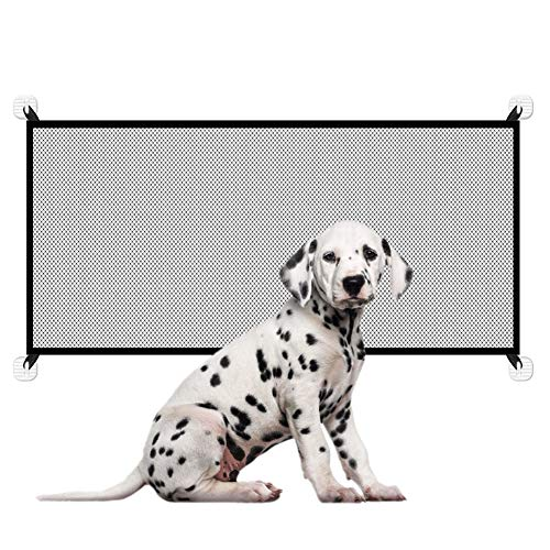 Upgraded Magic Gate for Dogs, Pet Safety Gate with Strong 3M Hooks, Mesh Dog Gate Portable Folding Safe Guard Install Anywhere-71 x 28
