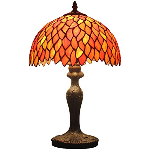 Tiffany style wisteria table lamp light S523R series 18 inch tall RED shade E26 - Red Glass Table Lamp
