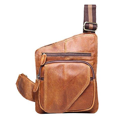 MuLier Men Shoulder Bag Messenger Bag Men Bag Crossbody Bag For ipad (Carzy Horse Leather & Brown)