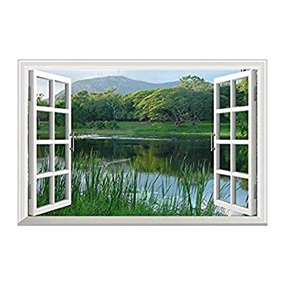 Peaceful Lake with Green Mountain - Canvas Art Wall Decor - 36