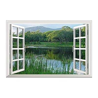 Peaceful Lake with Green Mountain Wall Decor -...