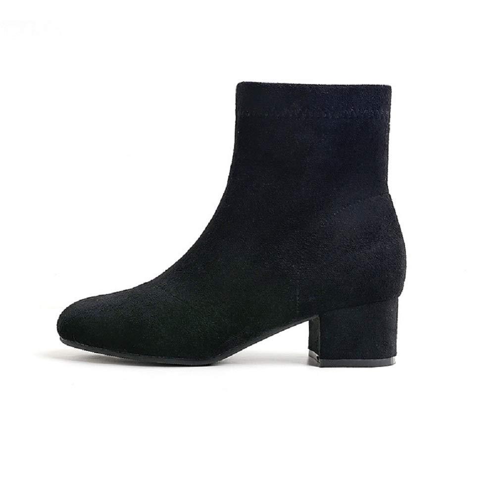 Gaslinyuan Bottes à Fermeture éclair Femmes Bloc Chelsea Chaussures Décontracté à la Cheville (Couleuré   Noir, Taille   EU 37)